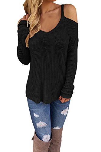 IF FEEL Womens Sexy White Cold Shoulder Knit Long Sleeves Sweater (M, Black)
