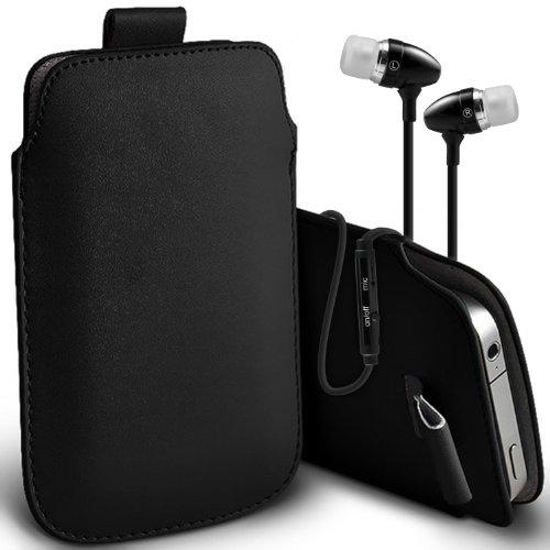 ( Black + Earphone ) Sony Xperia E3 Dual Sim Protective Stylish Fitted Faux Leather Pull Tab Tasche Skin Case Cover mit Premium Qualität im Ohrhörer Stereo Freisprecheinrichtung Headset mit integriertem Mikrofon Mic und On-Off -Button von ONX3