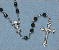 Catholic Men, Women, Boys, Girls or Childrens Rosary, Black First Communion Faceted Double Capped…