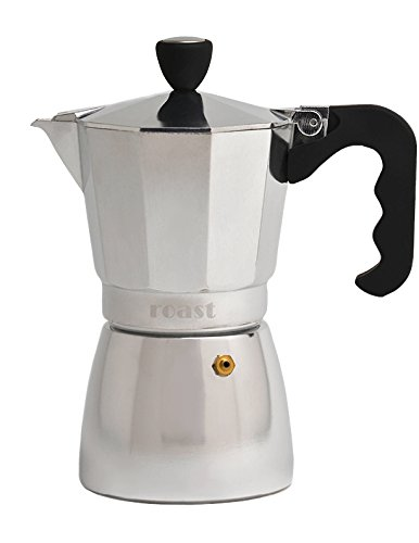 For Sale! Roast Italian Espresso Coffee Maker Moka Pot Express – 6 Espresso-Cup, Rubber Handle, Rounded Base