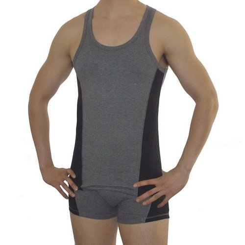 Mens Easiness grey sports tank top and boxer shorts set