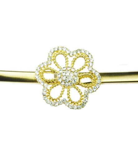 TdZ Metallic Skinny Coil Stretch Belt - Snowflake Flower Buckle (Gold) (Gold Coil Belt compare prices)