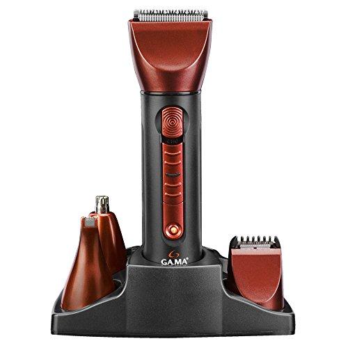 Gama Italy Professional T21.GC614 Tagliacapelli, 4 Funzionalità di Taglio, Lame in Acciaio Inossidabile, Testine Lavabili, Nero/Rosso