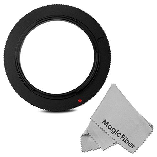 58Mm Macro Reverse Ring Camera Mount Adapter For Canon Rebel (T5I T4I T3I T3 T2I T1I Sl1), Eos (70D 60D 7D 6D 5D Mark Iii 1D M) Dslr Cameras + Magicfiber Microfiber Lens Cleaning Cloth