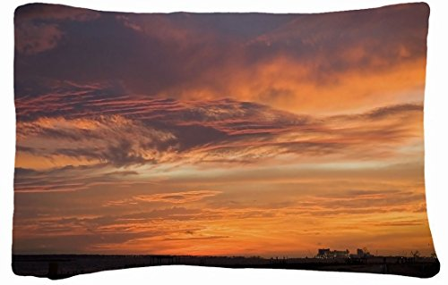 Microfiber Peach Standard Soft And Silky Decorative Pillow Case (20 * 26 Inch) - Nature Decline Skys Lines Images Patterns Lilac City front-883896
