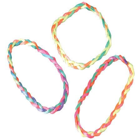 Lot of 48 Assorted Color Braided Woven Child Size Bracelets