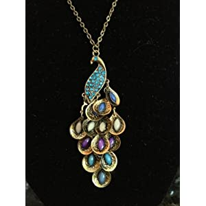 Retro Peacock Crystal Necklace Pendant Jewelry Vintage Style with a Cute Gift Bag