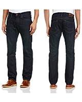 DŽSema Bleu Homme Coupe Droite Jambe Droite Jeans Regular Fit Pantalon Jeans hommes homme jambe Pantalons Hommes Mode pour hommes