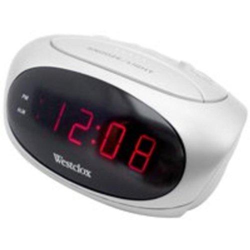 Westclox 70044B Led Alarm Clock, White