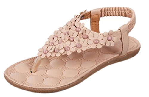 AM CLOTHES Women's Flower Cluster Beaded T-strap Flip-flop Shoes Flats Sandals
