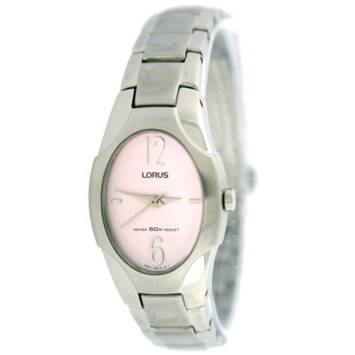 Lorus Ladies Link Watch Stainless Steel Oval Pink Easy To Read Dial Classic Design SALE
