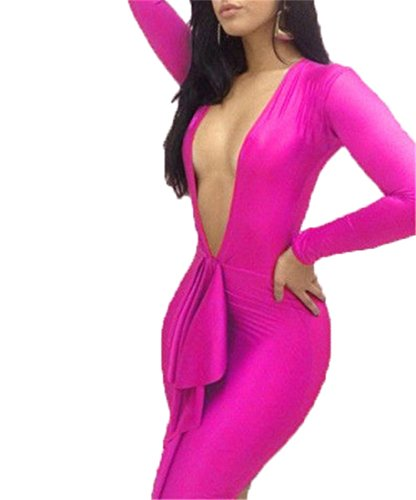 Qiyun Deep V Neck Ruffle Long Sleeves Clubwear Bandage Women Bodycon Cocktail Dress