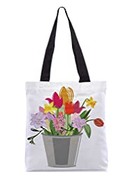 Snoogg Abstract Spring Illustration With Lots Of Flowers Designer Poly Canvas Tote Bag - B012FUP0TS