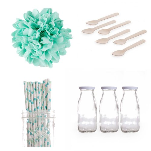 Dress My Cupcake Tissue Pom Poms Dessert Table Party Kit, Includes Vintage Glass Milk Bottles With Aqua And Green Polka Dot Straws front-503734