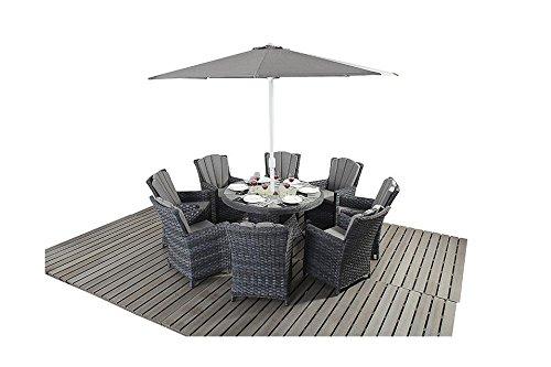 Manhattan grau Rattan Gartenmöbel 8Sitzer rund Esstisch Stühle, Set