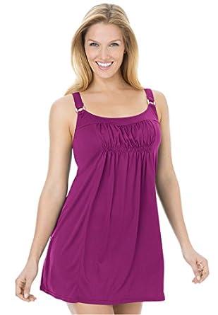 Swim 365 Women's Plus Size Swimsuit, 2-Piece Swimdress (Berry Pink,14 W)