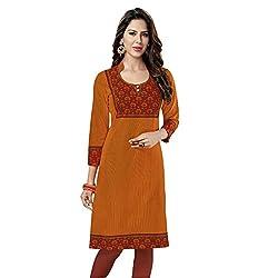Stylish Girls Women Cotton Printed Unstitched Kurti Fabric (SG_K111_Red_Free Size)