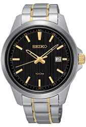 Seiko Mens SUR167 Two Toned Stainless Steel Band Black Dial Watch