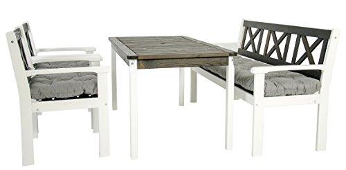 Garten Sitzgruppe Essgruppe Massivholz EVJE, Weiß/Taupegrau, 7-teiliges Set