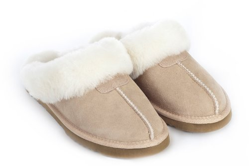 Cheap Sheep Touch Women's Twin-Face Australian Sheepskin Classic Slippers Sand (B00454XCAM)