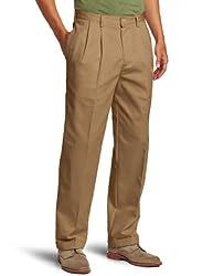 IZOD Men's American Chino Pleated Pant, English Khaki, 32x34