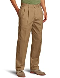 IZOD Men\'s American Chino Pleated Pant, English Khaki, 33 x 32