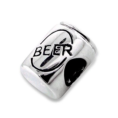 Silver Bead - Beer Can Drink Alcohol Tin Barrel 925 Sterling Charm - Silvadore 625