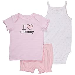 Carter\'s Baby Girl\'s 3pc Short Set - I Love Mommy - Pink-3 Months