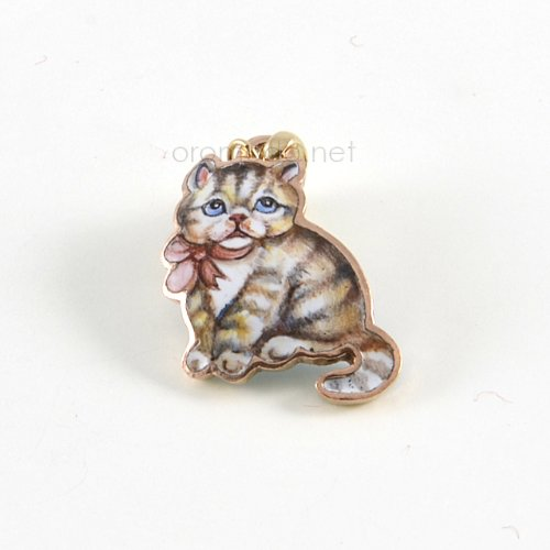 Gabriella Rivalta enamelled Cat pendant Gabriella Rivalta Cuccioli Collection enamelled Cat pendant, copper base with gold 750 little ring gr. 0.30