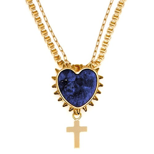 MFP - Mariafrancescapepe 23ct Gold Plated Brass Lapis Lazuli Pendant Necklace of 50cm