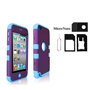 SQdeal® Gift + Durable Hybrid 3 Layer Hard Case Cover with Silicone Shell Inside Case for Apple iPod Touch 5 Generation 5th