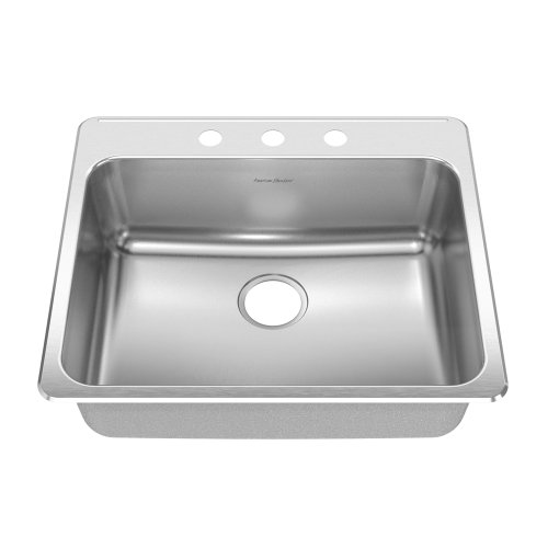 American Standard 15SB.252283.073 Prevoir 24.25-Inch Stainless Steel 3-Hole Topmount Single Bowl Kitchen Sink, Radiant Silk