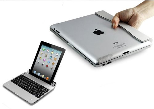 "Flystone Magnetic Slim Aluminum Wireless Tablet Stand Case + Bluetooth V3.0 Keyboard + 4000Mah Power Bank For Apple Ipad 4 / Ipad With Retina Display (Ipad 2/3/4 10.1"", Silver)"