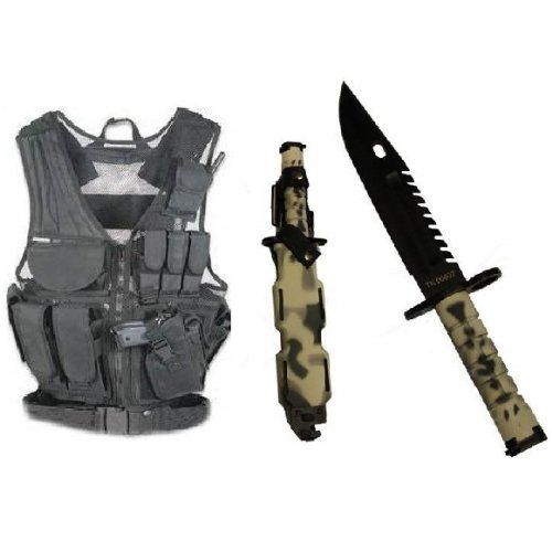 Ultimate Arms Gear Stealth Black Lightweight Edition Tactical Scenario Military-Hunting Assault Vest W/ Right Handed Quick Draw Pistol Holster + Urban / Snow Camo Camouflage Special Forces Series M9 M-9 Military Sawback Survival Stealth Black Blade Bayone