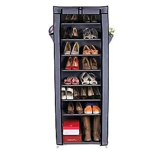 Songmics Armoire / étagères à chaussures 10 couches avec housse Rangement Pratique en toile avec zip couleur gris 58 x 28 x 160cm RXJ10G
