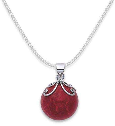 Spugna in argento Sterling, a forma di sfera, colore: corallo, misura: 20 mm, spediti in un sacchetto regalo di prima classe post