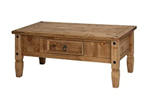 Corona mexican style waxed pine coffee table 1070w x 538d for Mexican style coffee table
