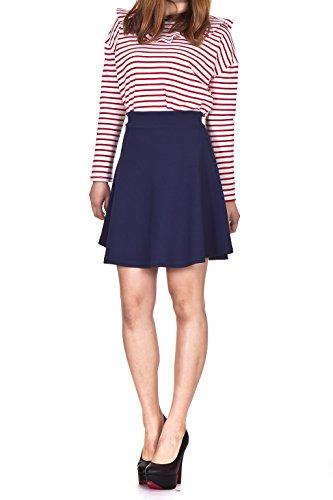 textured-high-waist-flared-skater-mini-skirt-m-navy