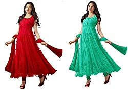 Sanjana Design Women's combo offer in one rate...fashion with passion..brasso combo start now ( KS5498_Free Size_Red & Piech)