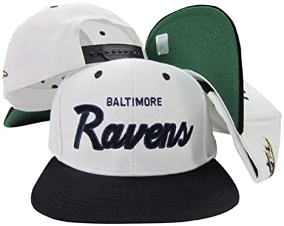 Baltimore Ravens White/Purple Script Two Tone Adjustable Snapback Hat / Cap