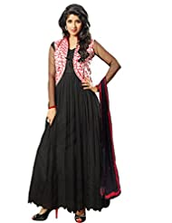 Kanchnar Women's Black & Red Coloured Embroidered Anarkali