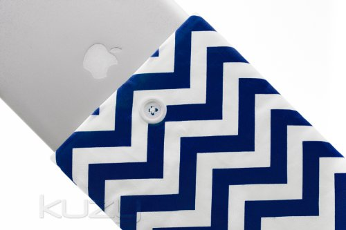 Kuzy - 15-inch Navy Blue Chevron Cotton Sleeve Handmade Cover for MacBook Pro 15.4