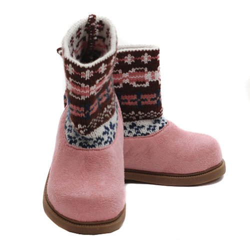 Modit Toddler Girls 7 Pink Brown Faux Suede Ankle Sweater Boot