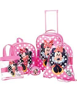 Disney Minnie Mouse Girls Pink 5 Piece Luggage Set.