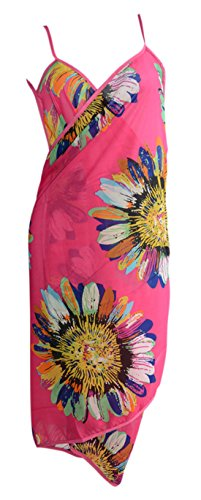 Am Clothes Womens Swimwear Backless Pareo Sarong Cover Up Beach Dress Sunflower Rose Red front-480322