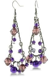 Elegant Gunmetal and Purple Faceted Beaded 2 1/2 Inch Dangle Drop Earrings