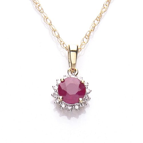 9ct Ruby And Diamond Pendant with curb chain