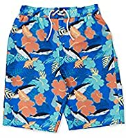 Contrast Drawstring Shark Print Swim Shorts