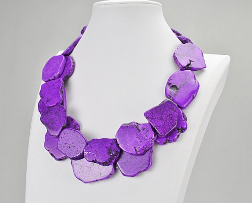 Violet Turquoise Necklace, Statement Necklace - 21.3 Inches Lemon Yellow Turquoise Necklace(Fn0415-Violet)