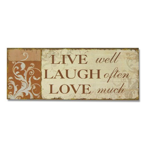 """Adeco Decorative Wood """"Live, Laugh, Love"""" Wall Sign Plaque"""